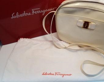 Salvatore Ferragamo White Patent Leather Shoulder Bag
