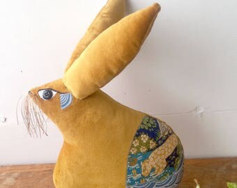 Golden Easter bunny rabbit shaped animal cushion /pillow hand made in Brighton