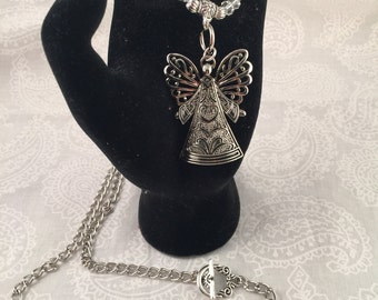 Christmas Angel necklace, silver with crystals and silver-tone chain