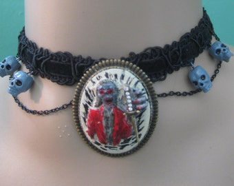 Zombie with Dagger Choker or Pin, Walking Dead Choker, Zombie Choker or Pin, Cosplay Zombie Choker, Hand Painted Zombie Choker