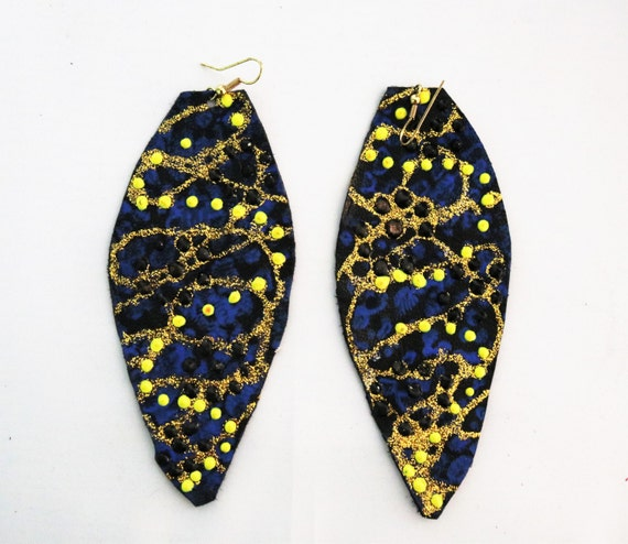 Gorgeous black, blue, and yellow hand painted earrings -  Leather earings - Gold earrings - Pretty hand painted design earrings
