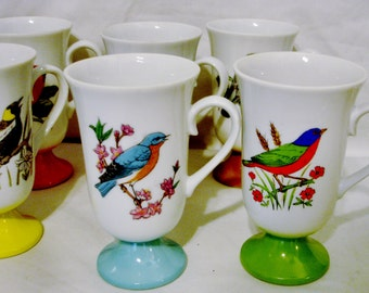 Fred Roberts Set of Six Colorful Bird MUGS-8 Ounces (226.80g)-Each with a Different Bird & Flower Design-Made in Japan
