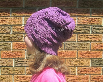 Dragonfly Slouchy Hat Purple Kid's Slouchy Beanie Spring Summer Slouch Hat Ready to Ship Dragonfly Beanie Child Size Made in Canada