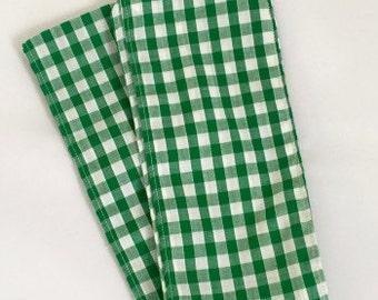 Green Gingham Headscarf / Headband / Checked / Headwear