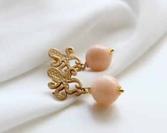 Pink quartz earrings | Gemstone jewels