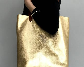 Gold leather bag, gold leather tote bag, gold handbag, metallic leather shoulder bag, metallic shopper, gold shoulder, metallic tote, gold