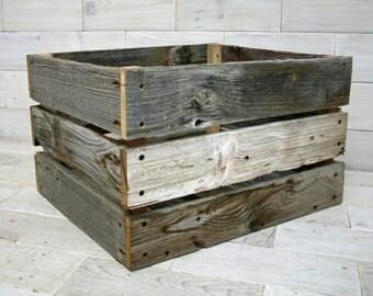 "Barn Wood Milk Crate 16"" x 12"" x 9"""