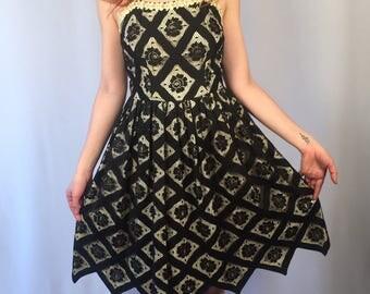 Vintage 1950's Black Floral Lace Dress