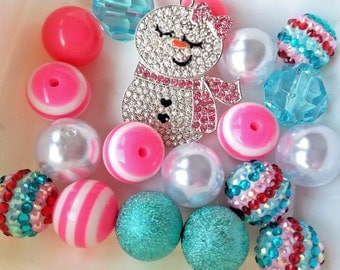 20mm Bubblegum Beads, DIY Winter Snow-girl Chunky Necklace Jewelry Kit, Pink Aqua and White Beads, Craft Supplies, Mixed Round