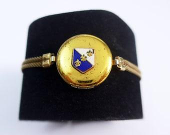 Antique Edwardian Locket Mesh Chain Bracelet - Gold tone Metal or Gold Filled Fleur De Lis Blue & White Enamel Crest - Vintage Boho Bracelet