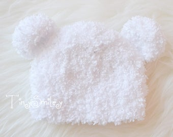 Baby Bear Hat, Fluffy Bear Hat, Newborn Bear Hat, White Bear Hat, Baby Hat with Ears, Fuzzy Bear Hat, Crochet Bear Beanie, Newborn Bear Hats