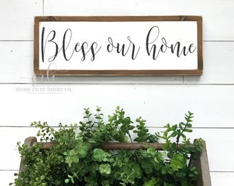 Bless our home Painted Wood Sign   Farmhouse Decor   Home Decor Sign   Distressed Rustic sign   Wall Decor   Fixer Upper Decor