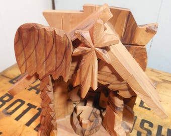 Gorgeous Hand Carved Olive Wood Nativity Scene