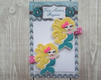 Mermaid Hair Clip, Girls Hair Clip, Felt Hair Clip, Toddler Hair Clip, Embroidered Hair Clip