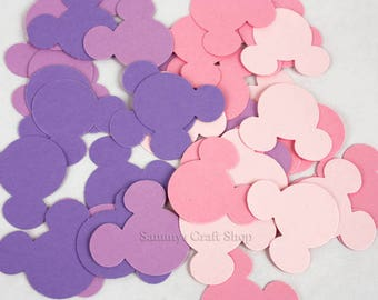 100 Pink and Purple Minnie Mouse Confetti, Baby Minnie First Birthday Party, Minnie Mouse Baby Shower