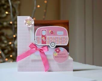 Caravan Handmade Card, Happy Birthday, Made in the UK, Motorhome, Camper Van Card, Camping, Caravan, Camping, Festival, Vintage Retro