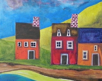 Houses by River, print of original painting