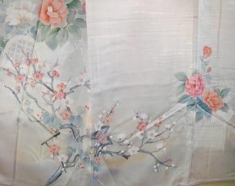 Kimono Art Vintage Japanese Silk Kimono, Elegant Handpainted Peony Unlined Silk Kimono Silk Sakura Branch Peony Vintage Japanese Silk Kimono