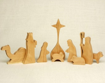 Nativity Set (Cherry) (#12) Nativity Scene, Manger Scene, Creche, Baby Jesus, Nativity Silhouette