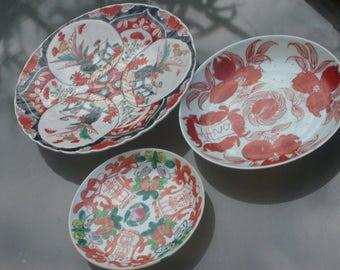 3pcs 19th century antique  porcelain plat hand painted  red blue china porcelain flower bird green signed antique ceramic porcelain