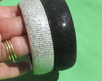 Retro Black & Silver Colored Sequined Fabric Covered Bangle Bracelets