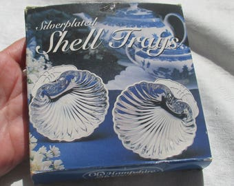 Vintage Silverplated Clam Shell Trays Old Hampshire Silversmiths Set Of Three Patina