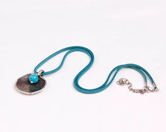 Howlite Turquoise Bead Pendant,Charm,Boho Necklace,Gift for Her,Mother Day,Turquoise Suede Cord,Jewelry