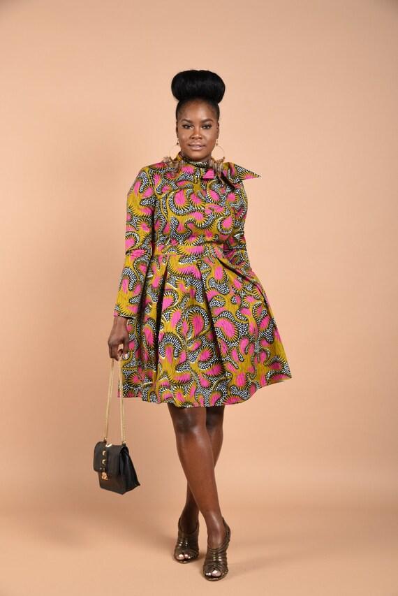 Mint-Koko Vintage wax print dress