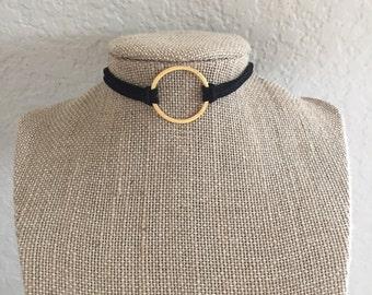 Gold Circle Leather Choker