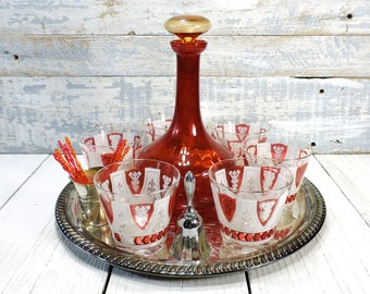 Lo Ball Drinking Glasses Red & White Barware Set Whisky Rocks Glasses Red Liquor Decanter on Silver Tray Vintage Wedding Barware Gift Set
