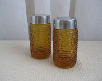 Vintage 1960's Soreno Honey Gold Glass Salt and Pepper Shaker Set Anchor Hocking