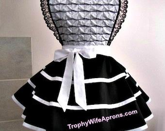 Apron # 4078 - Black and white fancy retro apron