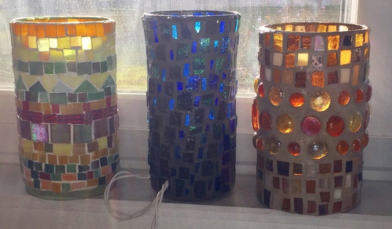Stained Glass Lamps-mosaic Accent Lights By MosaicsofGlass