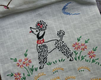 Vintage Embroidered Poodle Table Runner ~ White Dresser Scarf