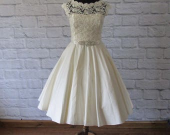 The Ettie silk tea length wedding dress