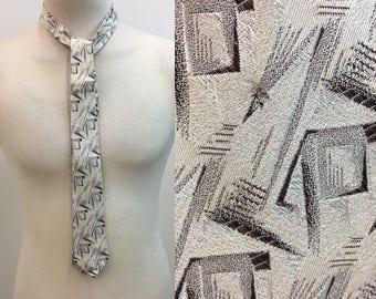 Vintage 1950s 1960s Necktie / Black Gray Grey Silver Sharkskin Tie / Geometric Pattern / Italian Made in Italy