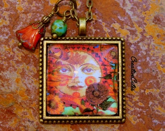 "Rustic Autumn Art Necklace Long Brass Necklace Orange Green Czech Glass Beads 30"" Chain Fall Leaves & Sun Image Glass Pendant Beautiful!"