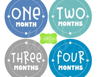 Star Baby Monthly Stickers - Baby Bodysuit Stickers - Monthly Baby Stickers - Boy Monthly Stickers - Blue, Green, Gray Stickers - 047