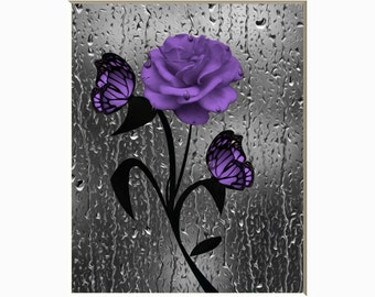 Purple Bathroom Wall Decor, Rose Flower Butterflies Raindrops Modern Purple  Bath Home Decor Matted Picture