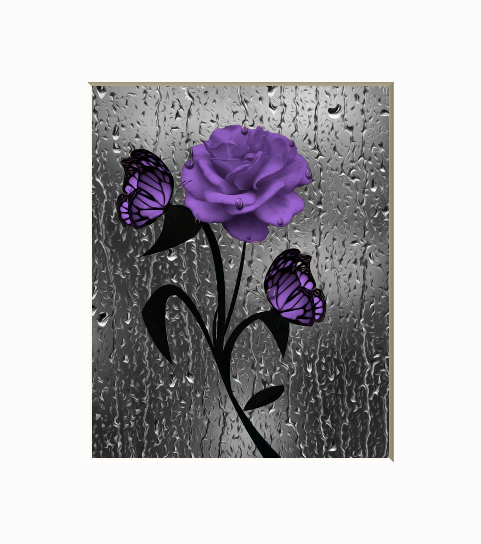 Purple Bathroom Wall Decor Rose Flower Butterflies Raindrops