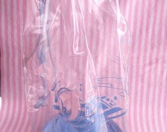 Transparent Plastic Blue Beach Bag Vintage 80s