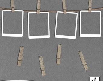 Digital Clothespins - Clothespins Clip Art - Digital Scrapbooking Clothespins - Wooden Clothespins - Instant Download - CU OK