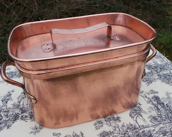Copper Pot Daubiere Stock Pot Copper Roasting Pan Lid Antique Solid Cast Copper Handles Copper Rivets Confit Copper Braiser Normandy Kitchen