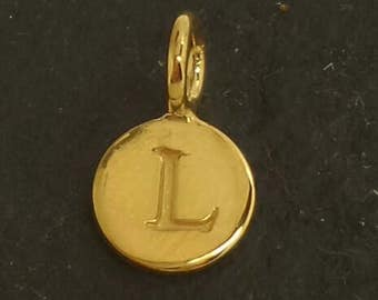 Gold on sterling silver round letter charm L, gold initial L charm,  stamped gold letter charm  , L gold vermeil initial charm