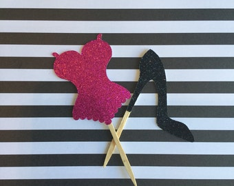 Bachelorette Party Decorations. Lingerie Shower. Corset Cupcake Toppers. Stiletto Cupcake Topper. Girls Night. Lingerie Party.