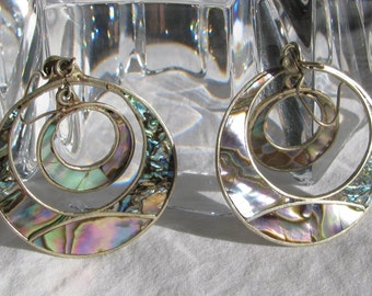 Beautiful Large Abalone Double Hoop Dangling Earrings, For Pierced Ears, Vintage Mexico, Southwestern