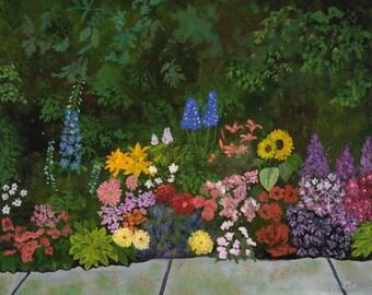 Wall Art, Gardens, Bouquet, Sidewalk Art, A floral Walk - 8 x 10 Art Print