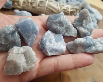 Blue Calcite ~ 1 small/medium Reiki infused rough stone approx 1-1.2 inches