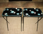 Mid Century Set of 2 Metal TV Trays with legs- Shabby- BLACK -Turquise - Pink floral design  -Folding -Cal Dak - 50's -Vintage- Made in USA