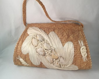 Zippered Straw Handbag, Fully Lined with Large Floral Design on Front